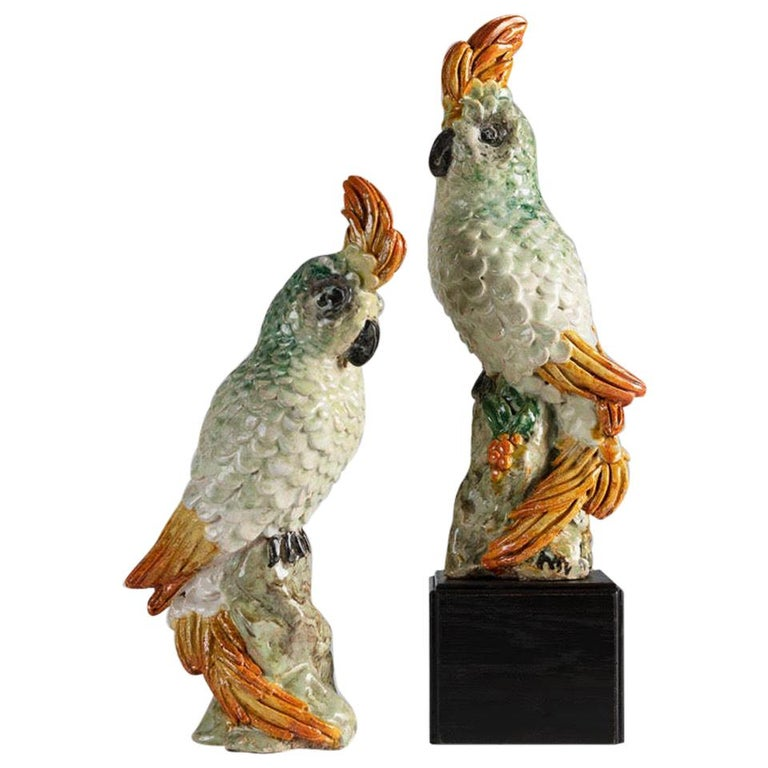 Glazed Ceramic Cockatoos, Luc and Marjolaine Lanel, France, circa 1950