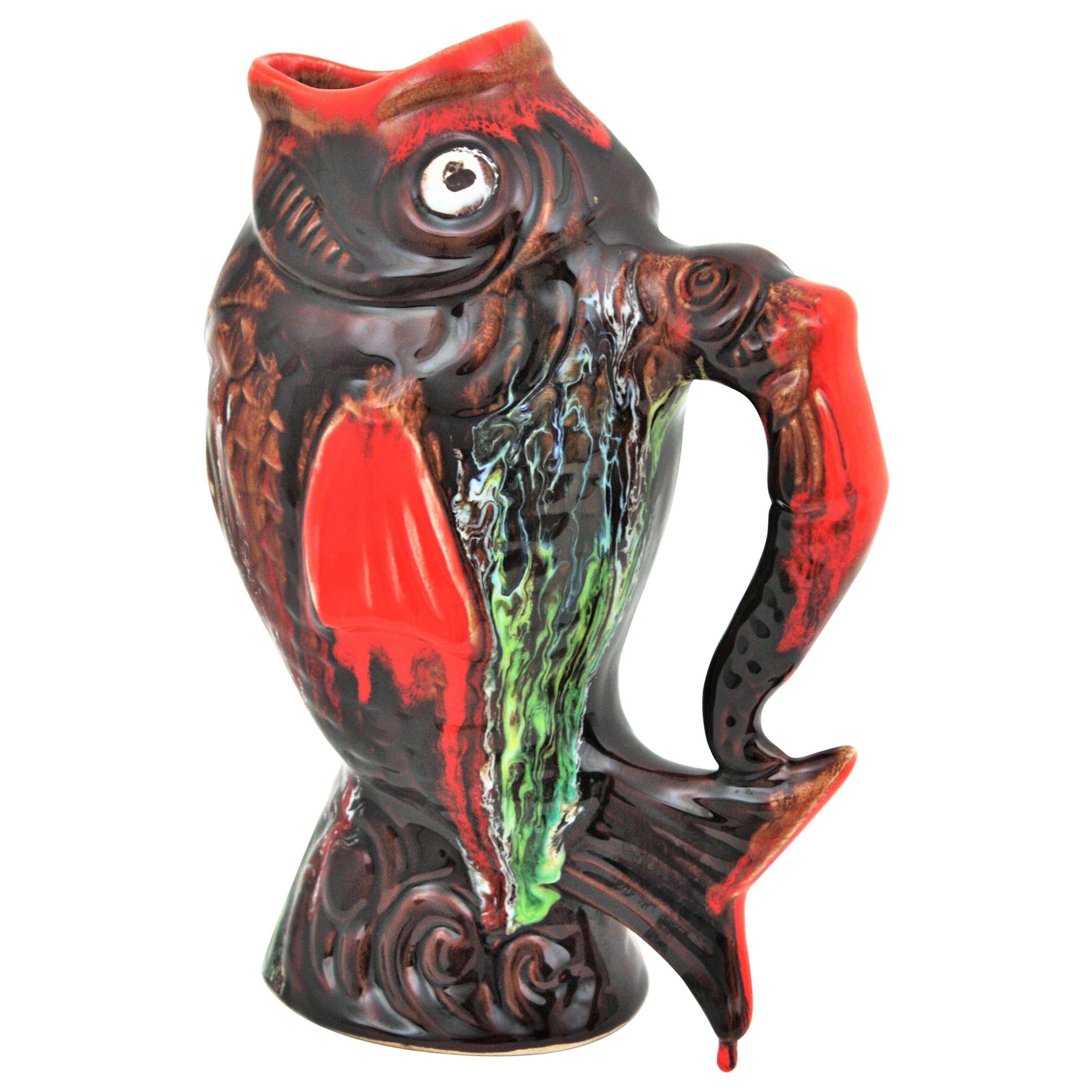 Glazed Ceramic Gurgle Fish Jug Tall Pitcher by Vallauris, 1950s