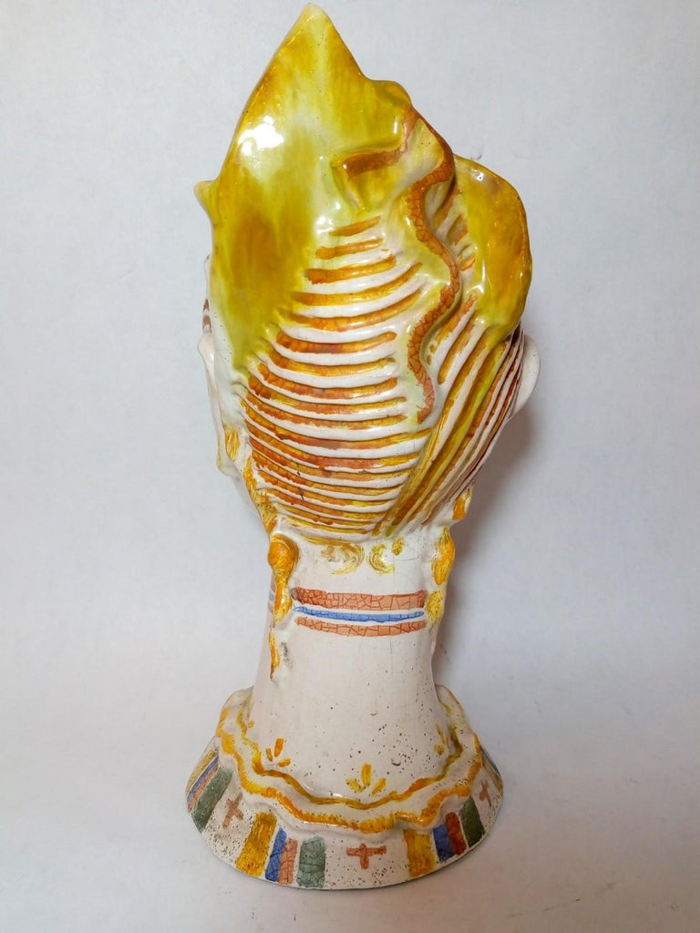 Art Deco Glazed Ceramic Head of Woman with Painted Veil, Attributed to Vally Wieselthiel For Sale