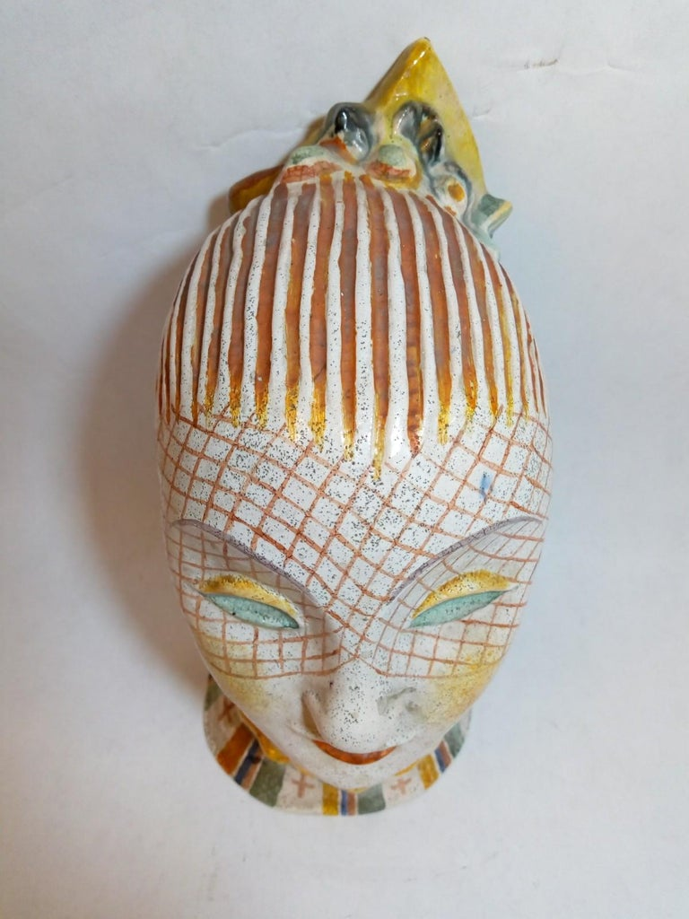 Early 20th Century Glazed Ceramic Head of Woman with Painted Veil, Attributed to Vally Wieselthiel For Sale