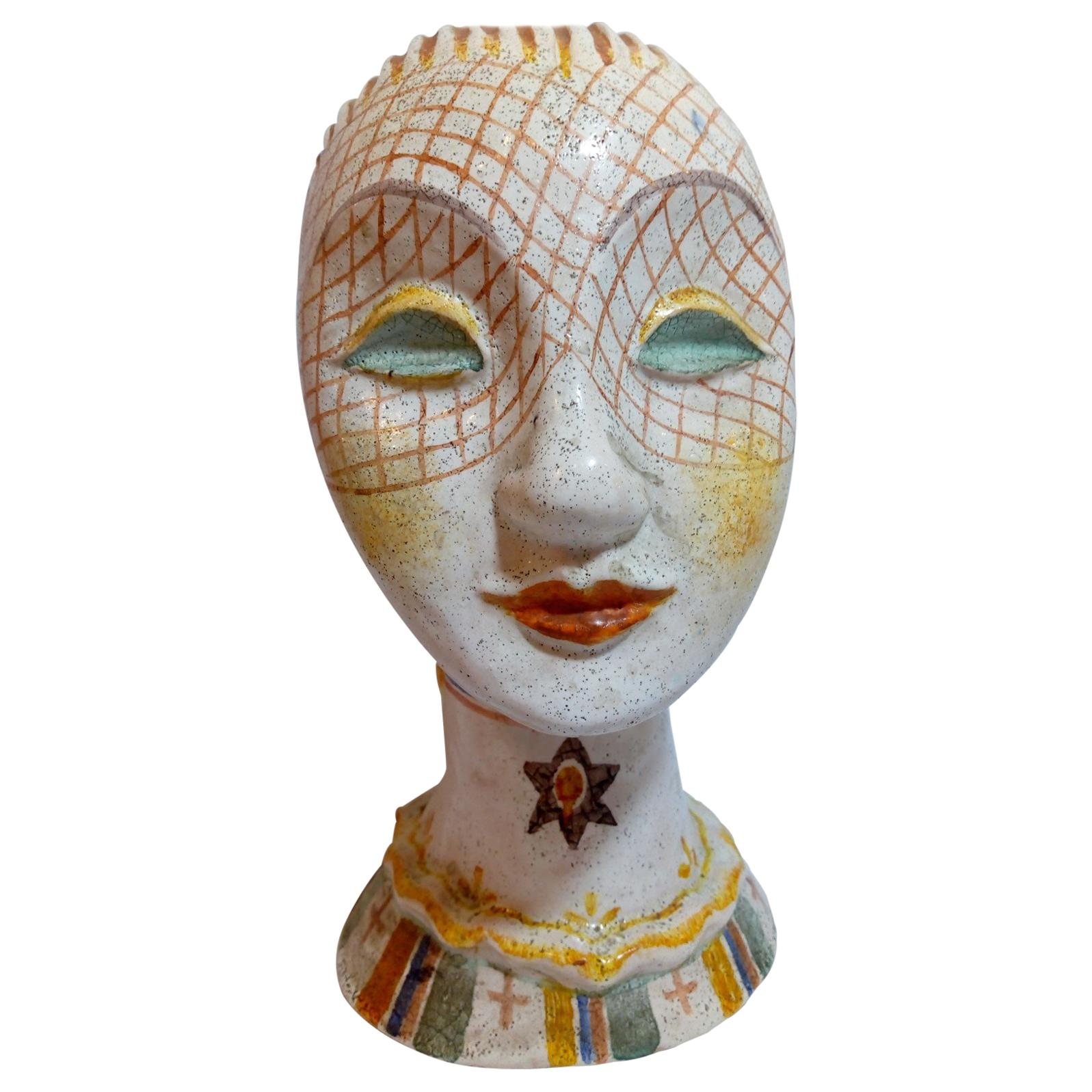 Glazed Ceramic Head of Woman with Painted Veil, Attributed to Vally Wieselthiel