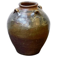Glazed Ceramic Jug or Jar with Four Handles from France