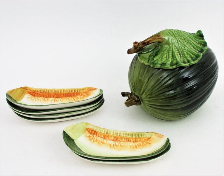 Glazed Ceramic Melon Server Set, 1960s For Sale 7