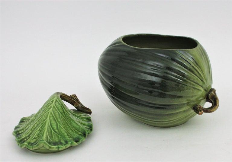 Italian Glazed Ceramic Melon Server Set, 1960s For Sale
