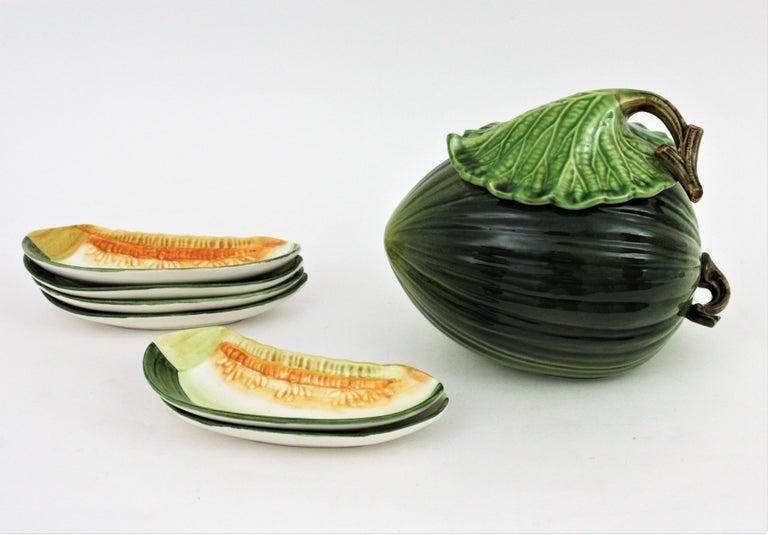 Glazed Ceramic Melon Server Set, 1960s In Excellent Condition For Sale In Barcelona, ES