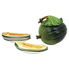 Glazed Ceramic Melon Server Set, 1960s