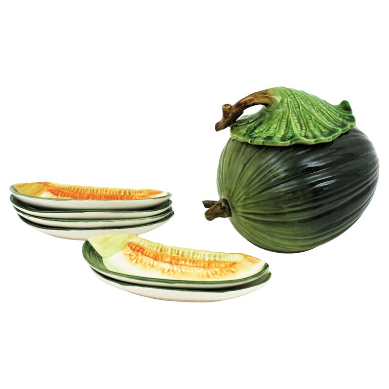 Glazed Ceramic Melon Server Set, 1960s For Sale