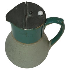 Glazed Ceramic Pottery Green Lidded Pitcher by Lovatts Langley, England