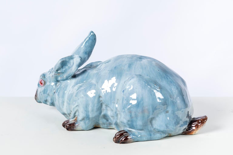 Glazed ceramic rabbit, France, early 20th century.