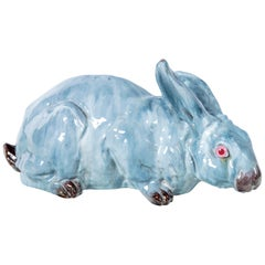 Glazed Ceramic Rabbit, France, Early 20th Century