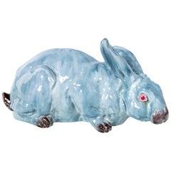 Glazed Ceramic Rabbit, France, Early 20th Century