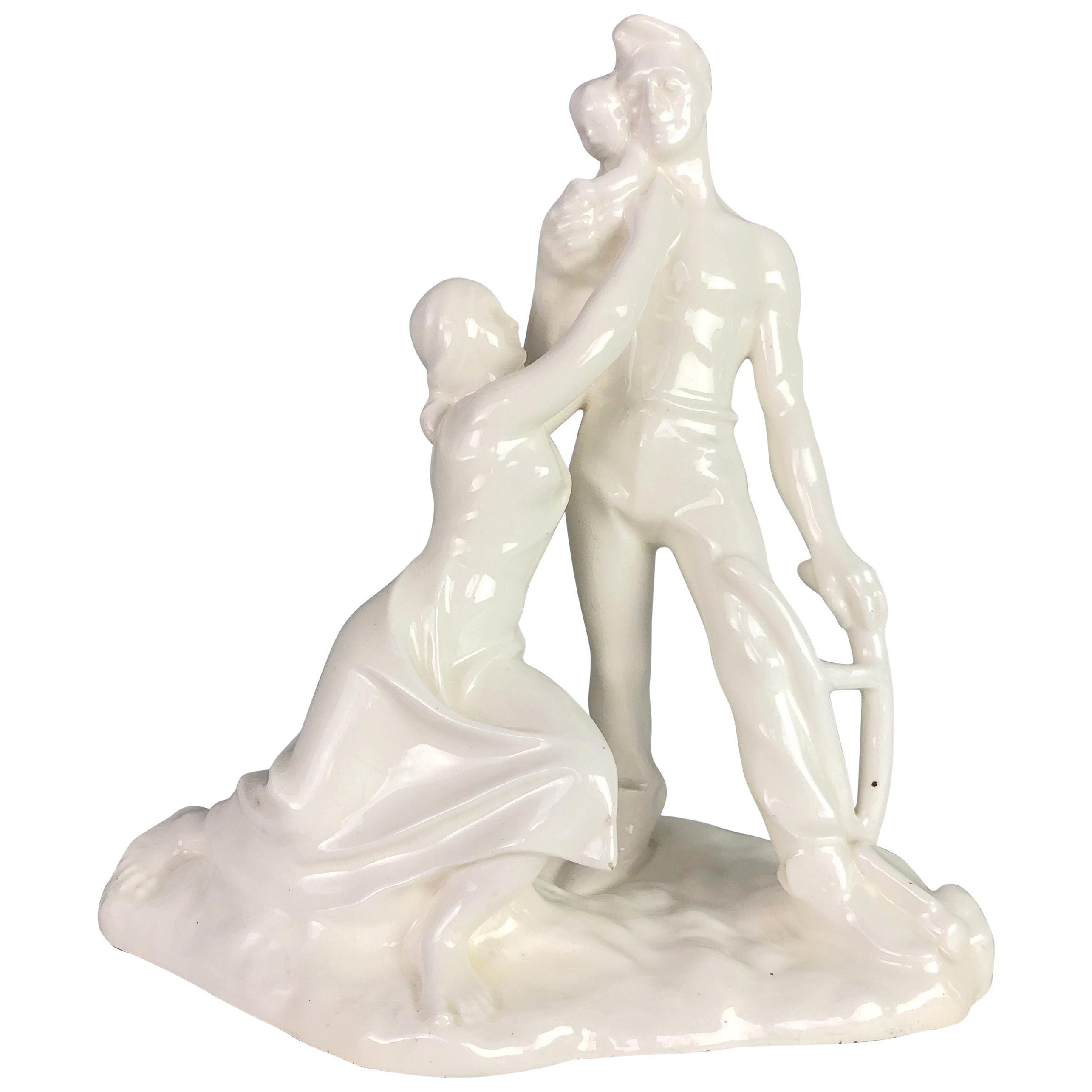 Glazed Ceramic Sculpture Signed by Emil Hlavica, 1930s