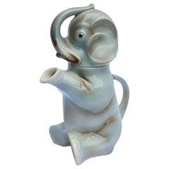 Glazed Ceramic Teapot in the Shape of Elephant Handmade