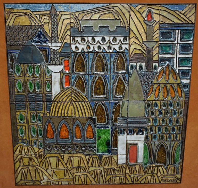 Mid-20th Century Glazed Ceramic Tiles by Raul Coronel For Sale
