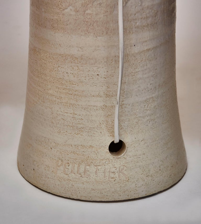 Late 20th Century Glazed Ceramic Totem Table Lamp by French Artist Georges Pelletier For Sale