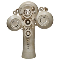 Glazed Ceramic Totem Table Lamp by French Artist Georges Pelletier