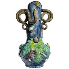 Glazed Ceramic Vase by Manuel Mafra, Portugal, Late 19th Century