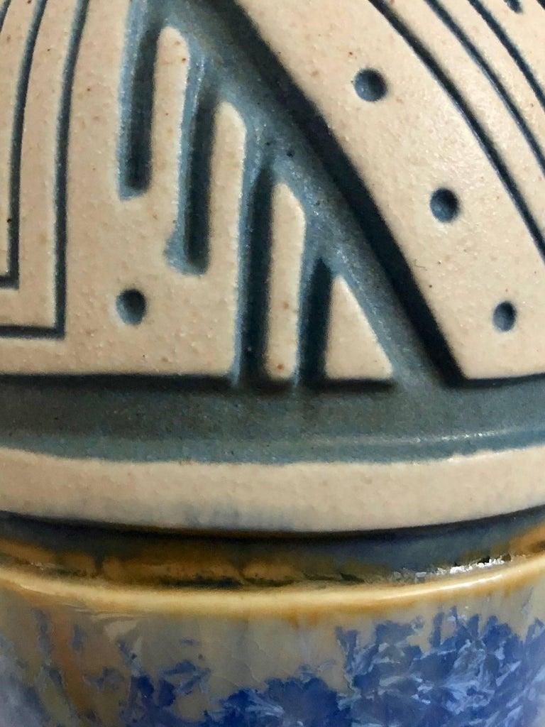 Fired Glazed Ceramic Vase by Mougin, Art Deco, France, 1930s For Sale