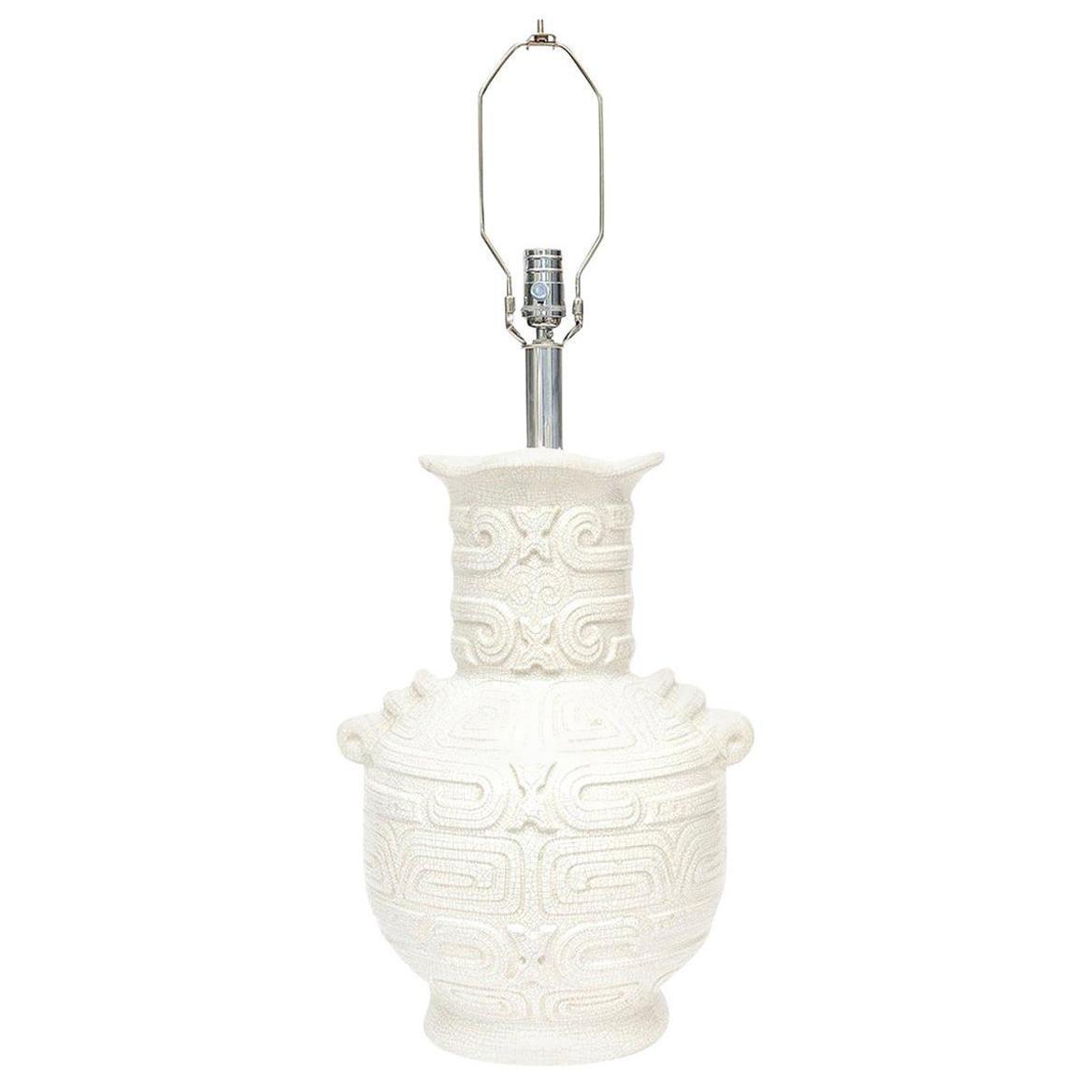Glazed Crackled White and Light Gray Ceramic Lamp Italian Vintage