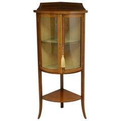Glazed Edwardian Inlaid Mahogany Antique Corner Cabinet