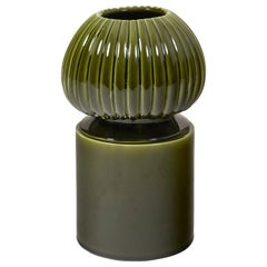 Glazed Green Large Ceramic Candleholder with Sculpted Lid by Laura Gonzalez