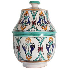 Glazed Moorish Ceramic Covered Jar Handcrafted in Fez Morocco