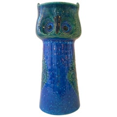 Glazed 'Owl' Bitossi for Raymor Pottery Vase in Blue and Green
