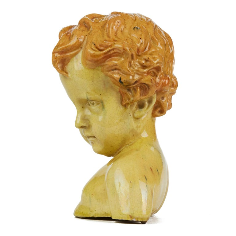 Glazed Pottery Bust of a Child Attributed to Jean Marie Camus, circa 1903 For Sale 3