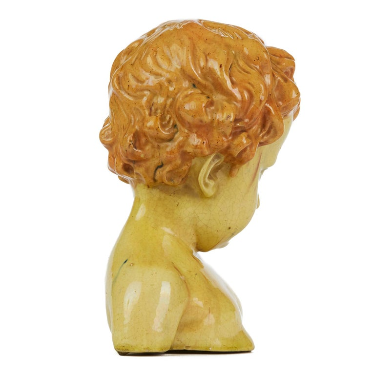 Art Nouveau Glazed Pottery Bust of a Child Attributed to Jean Marie Camus, circa 1903 For Sale