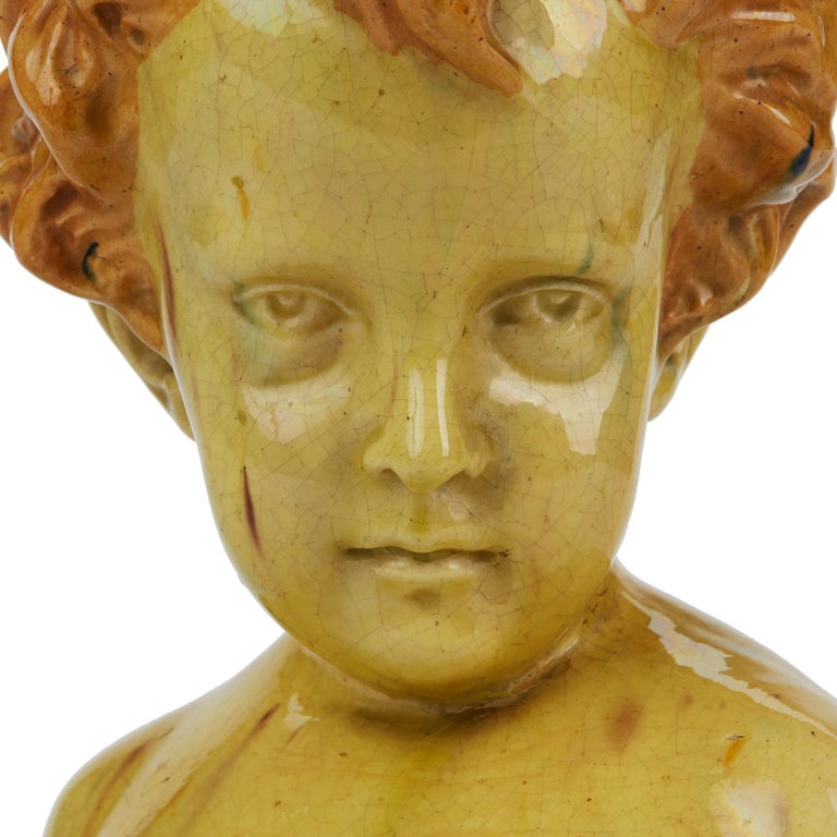 French Glazed Pottery Bust of a Child Attributed to Jean Marie Camus, circa 1903 For Sale