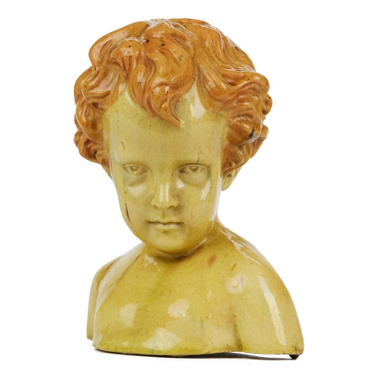 Glazed Pottery Bust of a Child Attributed to Jean Marie Camus, circa 1903 For Sale 2