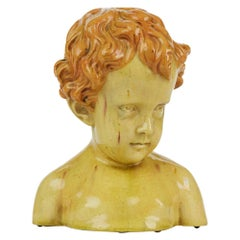 Glazed Pottery Bust of a Child Attributed to Jean Marie Camus, circa 1903