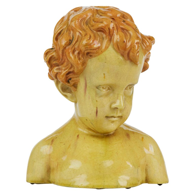 Glazed Pottery Bust of a Child Attributed to Jean Marie Camus, circa 1903 For Sale