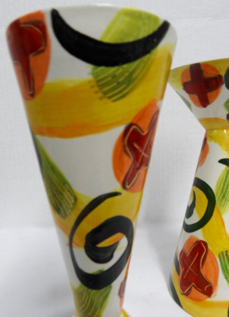 Glazed Pottery Goblets by Marilee Hall In Fair Condition For Sale In Cookeville, TN