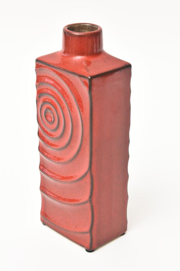 German Glazed Red Ceramic Zyclon Vase by Cari Zalloni for Keramik Vintage For Sale
