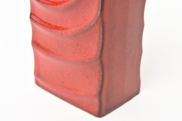 Mid-20th Century Glazed Red Ceramic Zyclon Vase by Cari Zalloni for Keramik Vintage For Sale