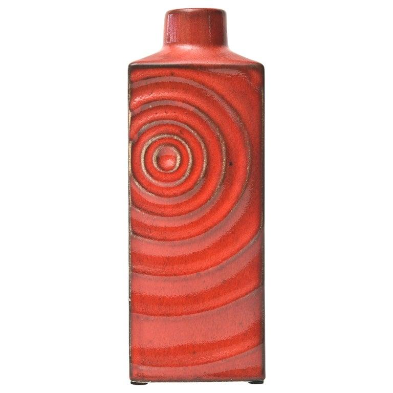 Glazed Red Ceramic Zyclon Vase by Cari Zalloni for Keramik Vintage For Sale