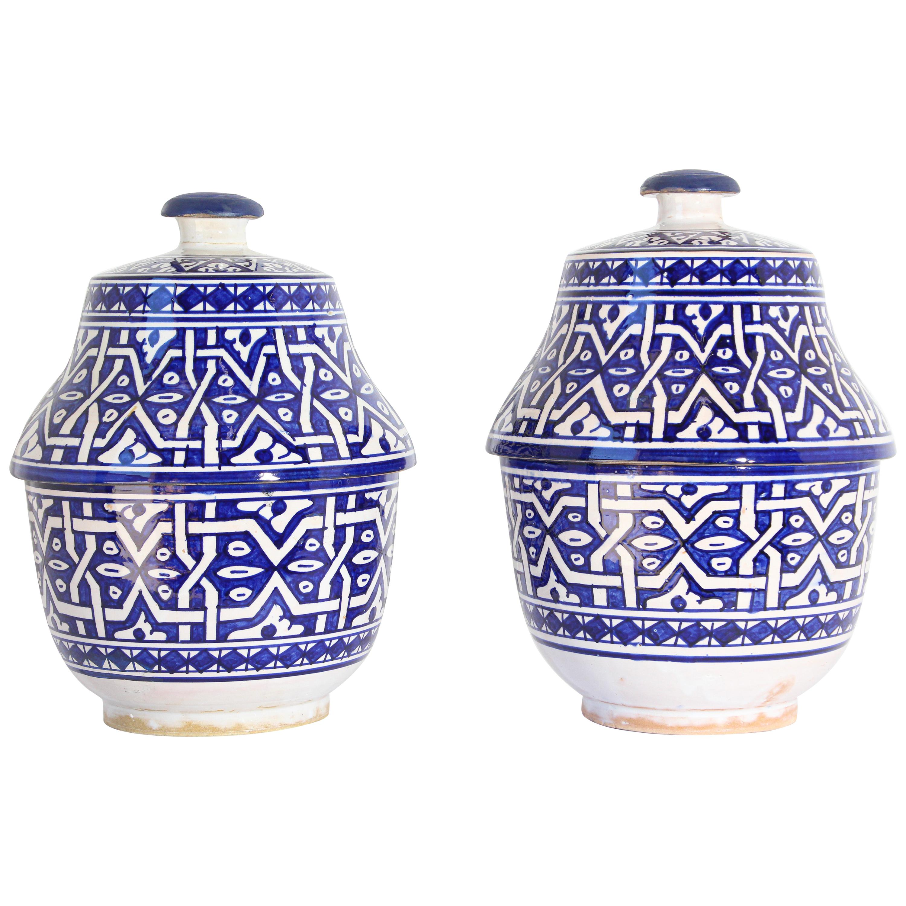 Glazed Royal Blue Covered Jars Handcrafted in Fez Morocco