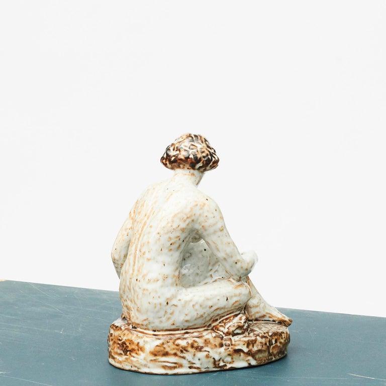Scandinavian Modern Glazed Stoneware Figurine of Sitting Woman by Gertrud Kudielka For Sale