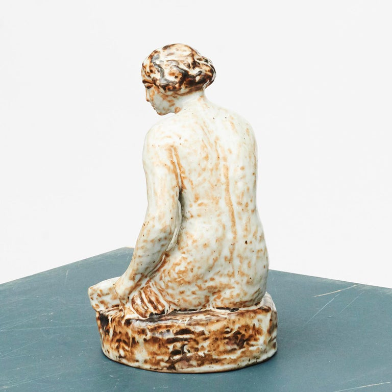 European Glazed Stoneware Figurine of Sitting Woman by Gertrud Kudielka For Sale