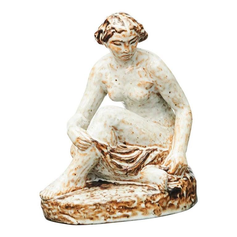 Glazed Stoneware Figurine of Sitting Woman by Gertrud Kudielka For Sale