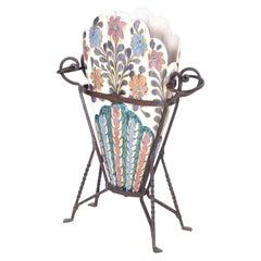 Glazed Terra Cotta and Metal Umbrella Stand