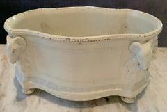 Glazed Terra Cotta Ceramic Jardiniere / Cachepot Centerpiece