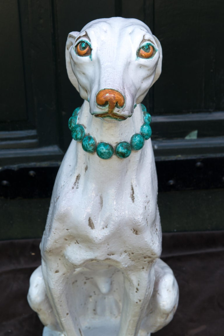 Glazed Terra Cotta Stylish Greyhound For Sale 4