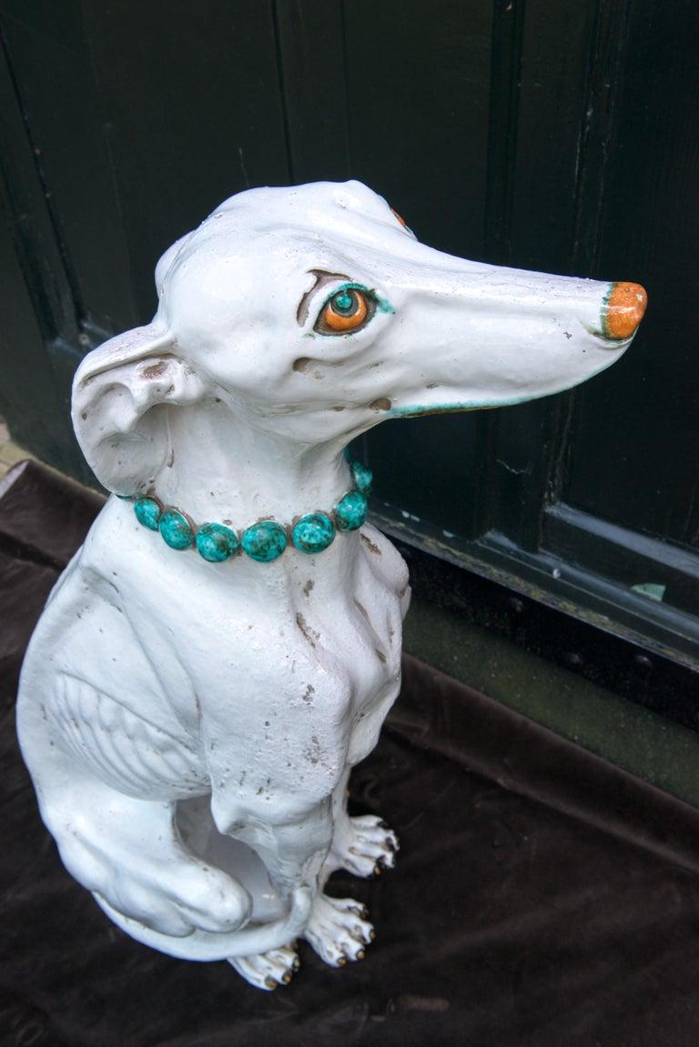 Late 20th Century Glazed Terra Cotta Stylish Greyhound For Sale