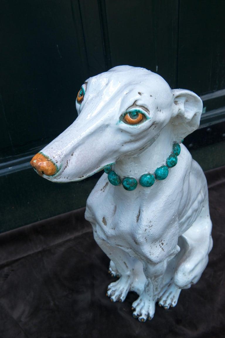 Glazed Terra Cotta Stylish Greyhound For Sale 1