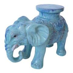 Glazed Terracotta Elephant Form Side Table