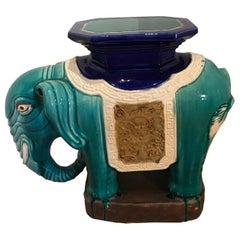 Glazed Terracotta Elephant Garden Seat