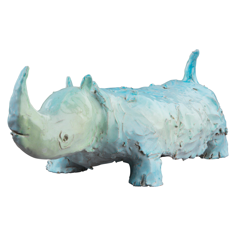 Glazed Terracotta Figure of a Rhino