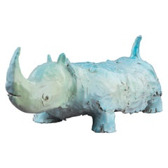 Glazed Terracotta Figure of a Rhino